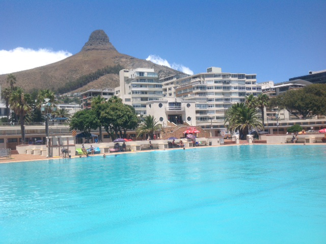 Lions Head as seen from the Sea Point Pavilion swimming pool