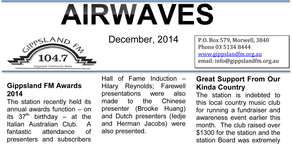 Twitter - Airwaves Newsletter - December 2014
